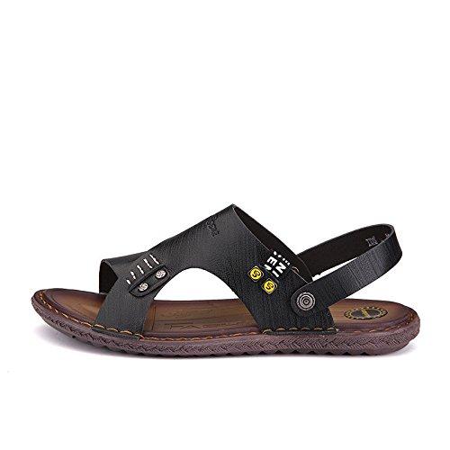 Sommer Männer Schuh Sandalen Sandalen Mode Freizeit Echtleder Sandalen Männer Rutschfest Strand Schuh ,schwarz,US=8,UK=7.5,EU=41 1/3,CN=42