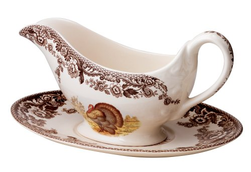 - Spode Woodland Turkey Sauce Boat and Stand