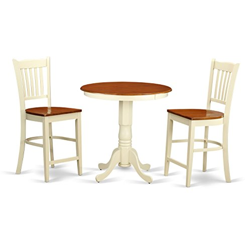 (East West Furniture EDGR3-WHI-W 3 Piece High Top Table and 2 Counter Height Dining Chair Set)