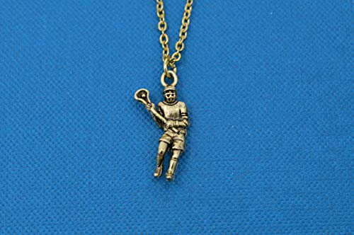 Lacrosse charm pendant in gold pewter on gold stainless steel chain. Boys necklace. Boys necklace. Boys jewelry. Lacrosse player -