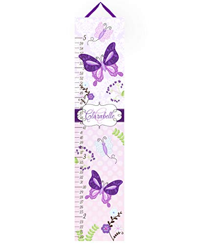 Toad and Lily Canvas GROWTH CHART Pretty Purple Butterfly Garden Girls Bedroom Baby Nursery Bedroom Wall Art GC0016
