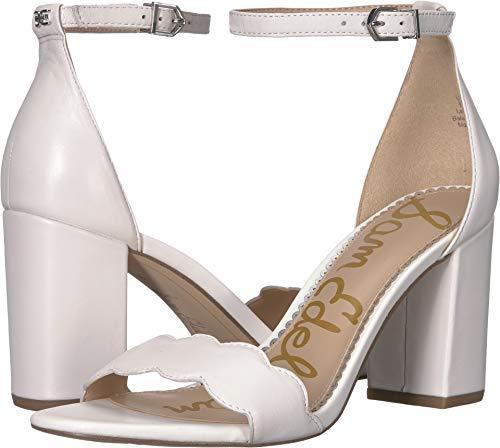 Sam Edelman Women's Odila Ankle Strap Sandal Heel Bright White Dress Nappa Leather 8 W US ()