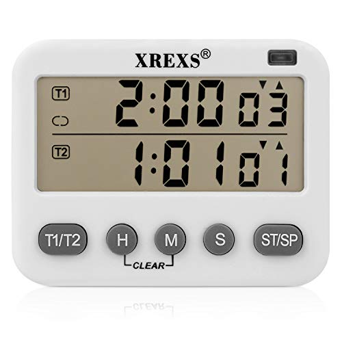 Digital Loop - XREXS 2-Channel Loop Timer,Multifunctional Infinite Cycle Timer,Count up/down Timer,Kitchen Digital Timer,Tomato Timer,Adjustable Volume Timer,Energy-saving Timer(2AAA Batteries Included)(391)