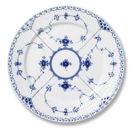 Fluted Plate Salad - Royal Copenhagen Blue Fluted Half Lace 1102620 Salad/Desert Plate 7 1/2 in.