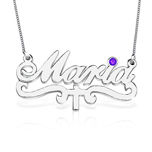 HACOOL Personalised 925 Sterling Silver Cross Jesus Birthstone Name Necklace Custom Made with Any Names (Silver) ()