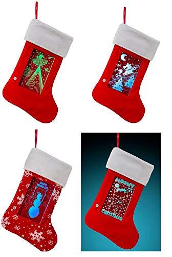 Yew Stuff POP Lights LED Light Up Christmas Stockings 4-Pack]()
