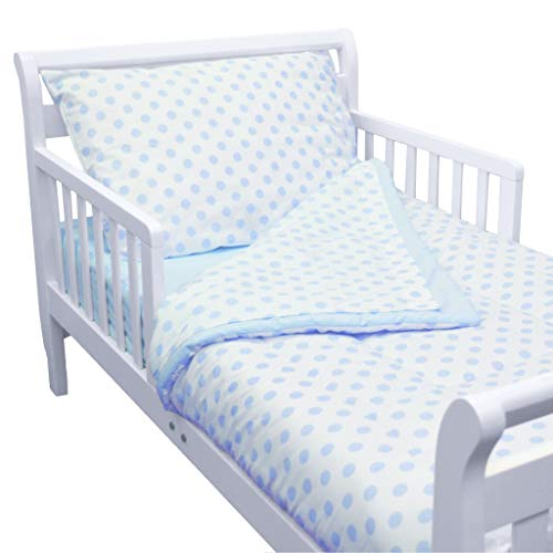 American Baby Company 100% Cotton Percale 4-Piece Toddler Bedding Set, Blue Dot, for Boys and ()