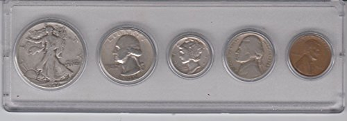 (1942 Birth Year Coin Set (5) Coins - Silver Half dollar, Silver Quarter, Silver Dime, Nickel, and Cent All Dated 1942 and Encased in Plastic Display Case Very Good)