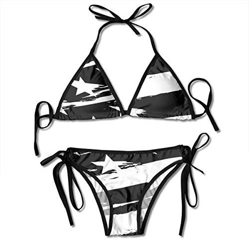 INWANZI Fashion Elegant Women Bathing Suit Sexy Bikini Set Adjustable Strap Swimwear Black USA Flag