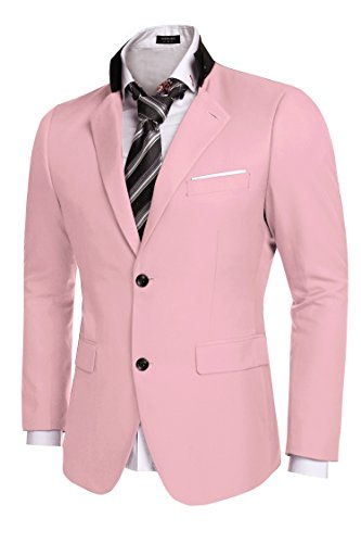 [Coofandy Men's Casual Dress Suit Slim Fit Stylish Blazer Coats Jackets, Size Small, Pink] (Pink Man Suit)