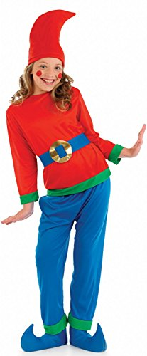 Kids Gnome Costume Childrens Red & Blue Dwarf Outfit - Medium