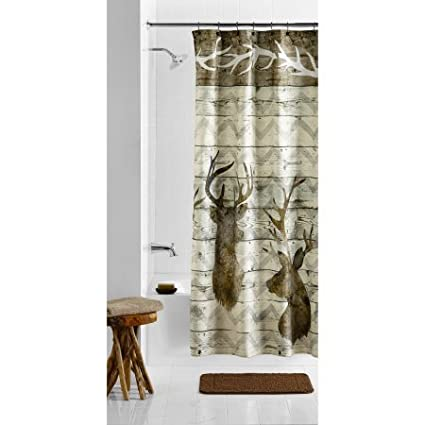 Image Unavailable Not Available For Color Mainstays Horns Fabric Shower Curtain
