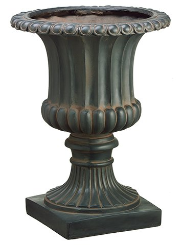 25''Hx18.5''D Resin Urn Rust Metal (pack of 1) by Arcadia Silk Plantation