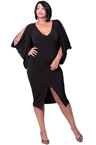 f8a97a54636 Plus Size Cold Shoulder Grecian Dress - Black (1X