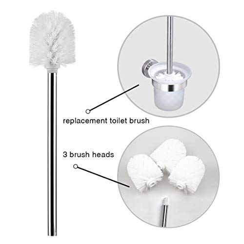 Greenour Toilet Brush Replacement Stainless Steel Handle Without Holder Strong Bristles Toilet Bowl Cleaner Brush for Bathroom 3 Toilet Brush Head White (Cleaning Brush Head Replacement)