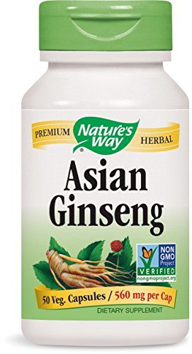 Natures Way Korean White Ginseng Root Capsule, 560 Mg - 50 per pack - 3 packs per case. (50 Capsules Ginseng)