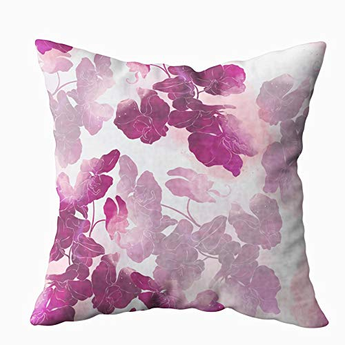 Shorping X'Mas Zippered Pillow Covers Pillowcases 20X20 Inch Imprints Exotic Orchids Painted Pattern Digital Drawing Decorative Throw Pillow Cover,Pillow Cases Cushion Cover for Home Sofa Bedding ()