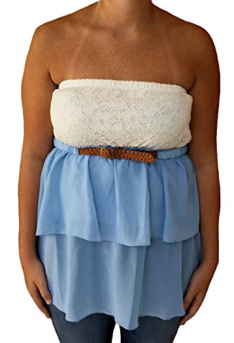 Almost Famous Junior's Strapless Tiered Belted Peasant Halter Top (X-Large, Chambray/White) (Belted Halter Top)