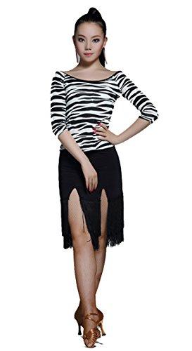 [L221 StarDance Women's Latin Rhythm Salsa Tassle Fringe Performance Show Dance Costume Skirt ((US size 4-6)L,] (Swing Jive Costumes)