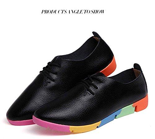 Gaorui Vrouwen Meisje Studenten Puntschoen Lace Up Casual Schoenen Oxford Pumps Platte Sneakers Zwart