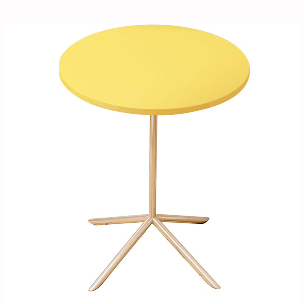 Yellow LJHA bianzhuo Side Table, Wooden Tabletop with Metal Bracket Round Table, Bedside Table, Leisure Coffee Table, White, Yellow, for Bedroom Living Room Balcony Side Table (color   Yellow)