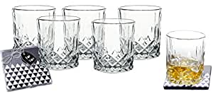Lead-Free Crystal Double Old-Fashioned Highball Water Glasses, SET OF 6, Heavy Base Barware Glasses Set, 8oz Drinking Glasses. Free Set of 2 Bar Drink Coasters Included
