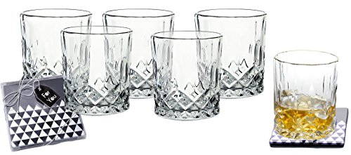 Glass Highball Base - Lead-Free Crystal Double Old-Fashioned Highball Water Glasses, SET OF 6, Heavy Base Barware Glasses Set, 8oz Drinking Glasses. Free Set of 2 Bar Drink Coasters Included