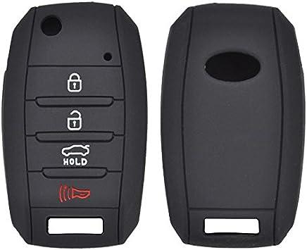 Black 4 Button Silicone Car Key Cover Case For KIA Optima Sportage Sorento Soul