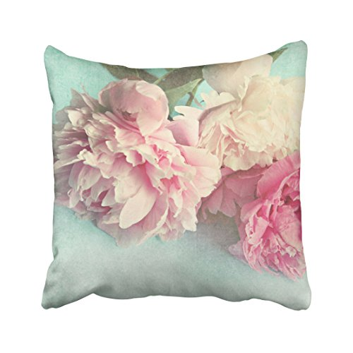 Capsceoll pillow shabby chic pink peonies Decorative Throw Pillow Case 18X18Inch,Home Decoration Pillowcase Zippered Pillow Covers Cushion Cover with Words for Book Lover Worm Sofa Couch (Pillow Peony)