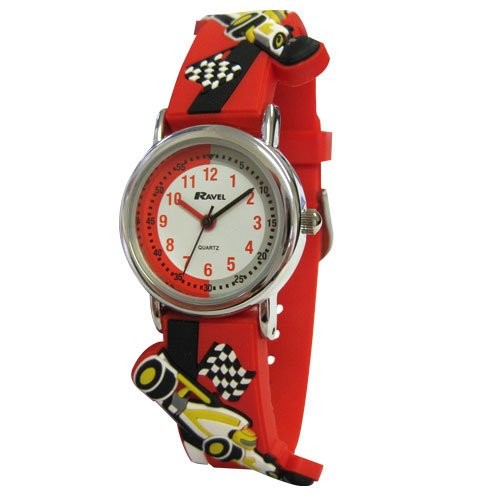 Price comparison product image Ravel Racing Car Time Teacher White Dial Kids Red PU Strap Watch R1513.31R