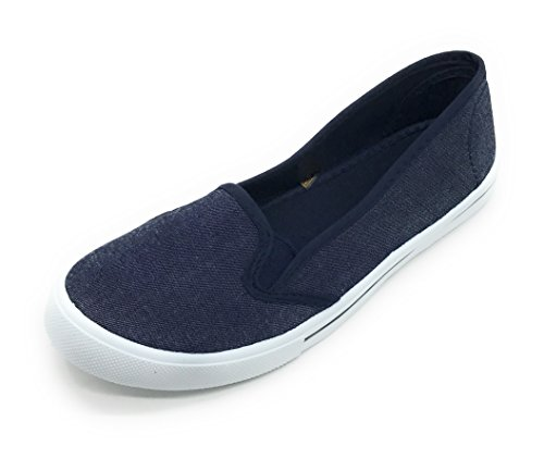 Round Fashion on Flat Women Toe Canvas Denim Sneaker EASY21 Slip 0AEZqw