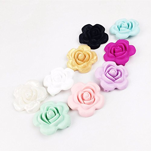 10pc Mix Color Silicone Beads Handmade Teething Flower Shaped Sensory Baby Teether Toy Diy Accessories