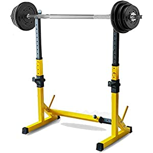 Alderman Adjustable Squat Rack Multi-Function Barbell Rack Dip Stand Barbell Stand Weight Lifting Rack Home Gym Fitness Weight Lifting Bench Press Dipping Station (Yellow Rack)