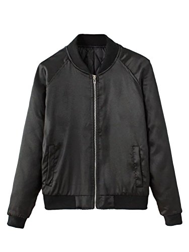 CHARLES RICHARDS Women's Bomber Jacket Zip Up Stain Look Baseball Collar Classic Short Jacket Baseball Jacket Coat Black