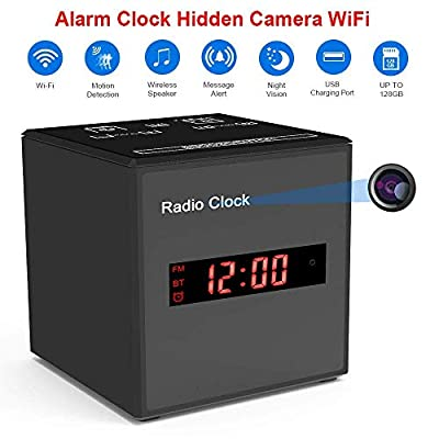 Hidden Camera WiFi Alarm Clock Radio,FUVISION Wireless Speaker Covert Camera with Motion Detect,FM Radio,Night Vision,USB Charging Port,Touch-Activated Control,Aluminum Alloy Body Nanny Cam for Home by FUVISION