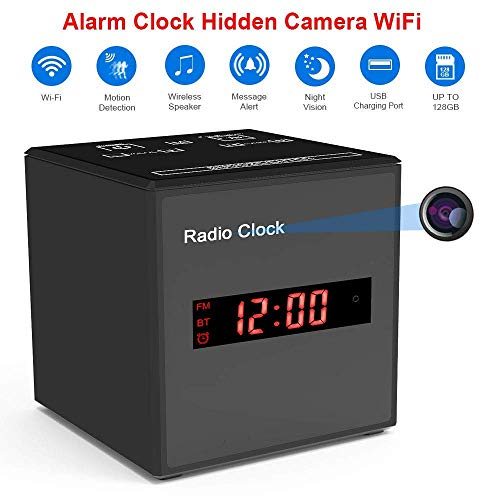 Hidden Camera WiFi Alarm Clock,FUVISION Wireless Speaker Covert Camera with Motion Detect,FM Radio,Night Vision,USB Charging Port,Touch-Activated Control,Aluminum Alloy Body Nanny Camera for Home