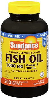 Sundance Vitamins Fish Oil 1000 mg/Omega-3 300 mg Natural Lemon Flavor - 200 Softgels, Pack of 6