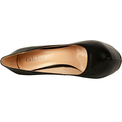 Confortable Cawrite Luxe Noir Parties Chaussures Aiguille Sexy Glisser Taille Calaier Talon Haut sur Plate Escarpins Forme Femme Supérieure Grande 15CM de qBE5XWWw