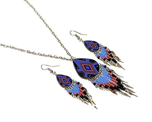 - Mia Jewel Shop Large Tribal Ceramic Teardrop Long Beaded Dangle Silver Chain Necklace and Earrings Jewelry Set (Blue/Red/Black)