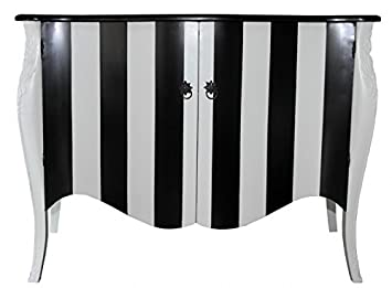 Casa Padrino Barock Kommode Schwarz Weiss Streifen 120cm Mod Antik