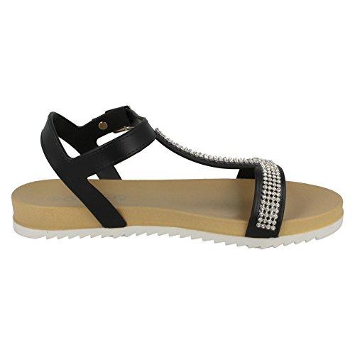 Spot On Ladies Flat Buckle Sandal Black UCqG5T