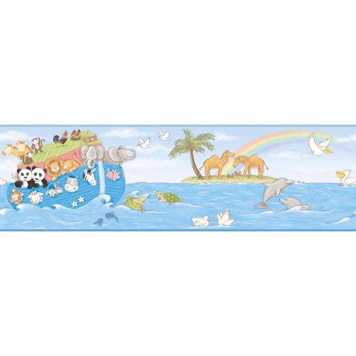 York Wallcoverings YS9173BDSMP Peek-A-Boo Noah's Ark 8-Inch x 10-Inch Memo Sample Wallpaper-Borders, Sea Blue/Sky Blue/Palm Green/Soft Gray/White