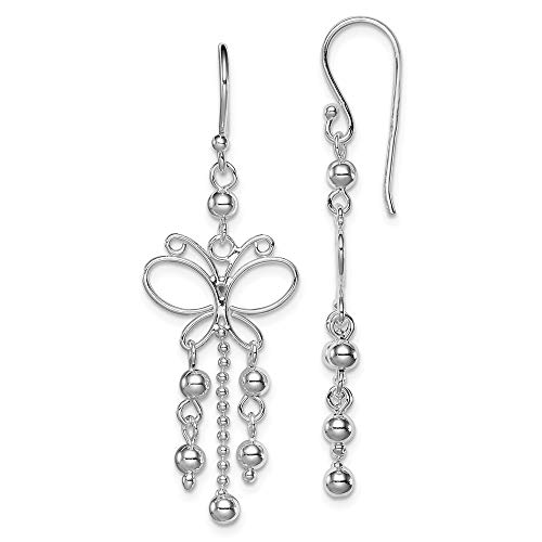 925 Sterling Silver Rhodium- Plated Butterfly Dangle ()