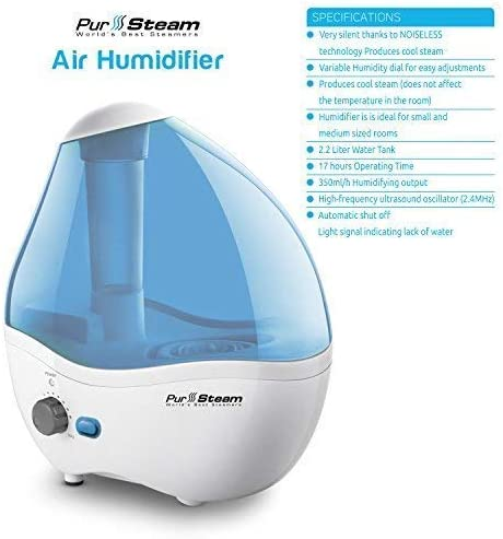 Superior Ultrasonic 2.2 Liter Whisper-Quiet Operation Auto Shut-Off Cool Mist Humidifier Nightlight Ideal for Baby Rooms 20 Hours Operating Time 11 Variable Mist Control Settings