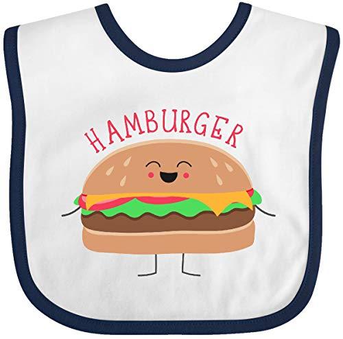 Inktastic - Hamburger Costume Baby Bib White/Navy -