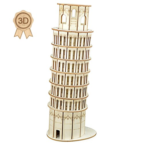 Assembly Tower (Bitopbi 3D Wooden Puzzles Laser Engraving DIY Safe Assembly Constructor Kit Toy for Kids Teens and Adults, World Famous Buildings Mechanical 3-D Models for Self-Assembly (C5 Leaning Tower of Pisa))