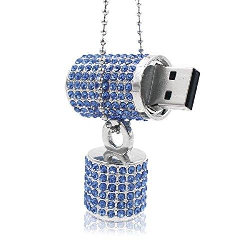 Ladybug Flash Drive (Ciway Luxury Jewelry Lip Stick Shaped USB Flash Drive USB 2.0 Thumb Pen Drive With Necklace (Blue,64GB))