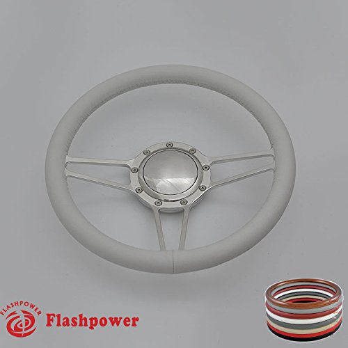 Flashpower 14'' Billet Full Wrap 9 Bolts Steering Wheel with 2'' Dish and Horn Button (White)