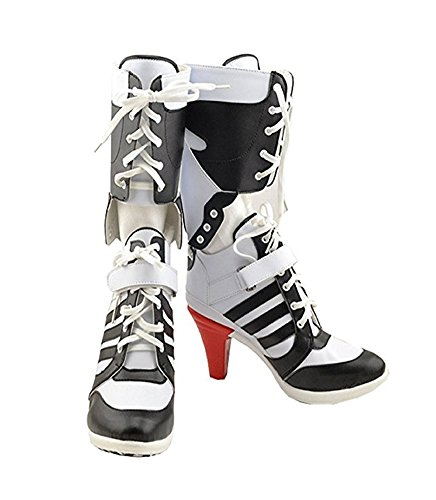 Harley Quinn Shoes (Womens Cosplay Halloween White PU Pleather Shoes High Heel Boots 3.6 incehs (Female US 7.5))