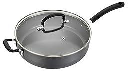 T-fal E78999 Precision Hard Anodized Nonstick Ceramic Coating PTFE PFOA and Cadmium Free Scratch Resistant Dishwasher Safe Oven Safe Jumbo Cooker Saute Pan Fry Pan Cookware, 5-Quart, Black